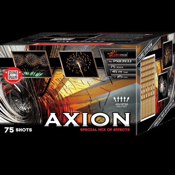 """Stobru bloks, baterija, salūts """"Axion"""", PXB3933 - 75 šāvieni 25mm + vēdeklis"""