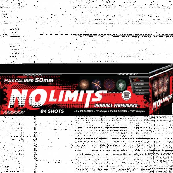 """Stobru bloks, baterija, salūts """"No Limits BIG"""", PXS303 - 84 šāvieni 50mm + vēdeklis"""